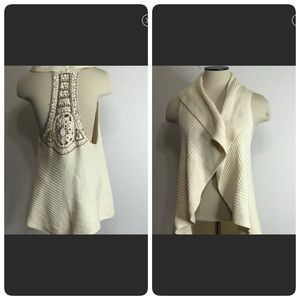 """Anthropology """"Curio"""" Women Ivory Waterfall Vest S"""
